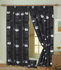 "Delilah Faux Silk Floral 3"" Headed Tape Pencil Pleat Curtains Pair Fully Lined"