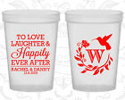 Personalized Plastic Wedding Cups Custom Cup (445) Monogram Wedding, Floral