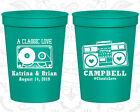Personalized Plastic Beer Cups Custom Cup (489) Retro Wedding Favors