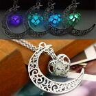 Crescent Moon Heart Glow in the Dark Necklace Charm Jewelry Luminous Chain CA RT