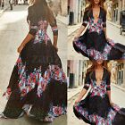 2017 Fashion Womens Deep V Neck Half Sleeve Boho Floral Party Maxi Long Dress