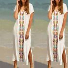 UK Womens V Neck Long Maxi Dress BOHO Floral Summer Beach Swim Cover Up Sundress