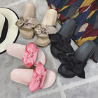 2017 Ladies Comfy Plain Rubber Bow Sliders Flats Shoes Slides Slippers Size