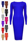 Ladies Midi Dress New Womens Plain Stretch Dresses Black Red Royal UK 8 10 12 14