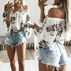 New Fashion Women T-Shirts Lady Printed Strapless Shirts Blouse One-Shoulder Top