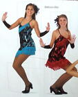 Ballroom Blitz Dance Costume BLUE or RED Chicago Flapper Dress & Mitts CM,AM,AL