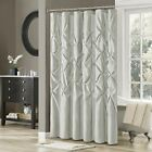 "Classy Light Grey Pleated Tufted Fabric Shower Curtain - 72"" x 72"""