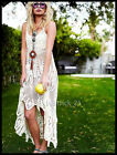 VTG HANDMADE FLORAL CROCHET LACE EMBROIDERED WEDDING TOP TUNIC BEACH PARTY DRESS
