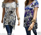 Plus size 16-34 UK. Ladies womans Twin pack hanky hem summer holiday floral tops