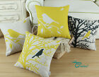 "Square Pillow Throw Cushion Cover Yellow Shadow Bird Tree 18"" X 18"""