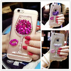 For Samsung Galaxy S8/S8 Plus Glitter Lips Liquid Bling Dynamic Wine Cup Case