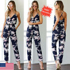 Women Backless Jumpsuit Sleeveless V-Neck Floral Printed Playsuit Party Trousers