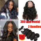 Pre Plucked 360 Lace Frontal With Bundles 7A Virgin Brazilian Human Hair Closure