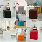 Single One Seater Ottoman Storage Box Foot Stool Suede Linen Foldable Black Red