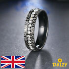BLACK SPARKLY CRYSTAL ETERNITY RING CZ ZIRCON BLING STAINLESS STEEL DESIGN NEW