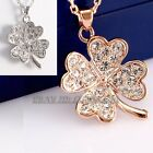 A1-P134 Hearts Leaf Luck Clover Pendant Necklace 18KGP CZ Rhinestone Crystal
