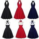 Casual Backless Plunge Halter Vintage Skater Party Dress for women for going out