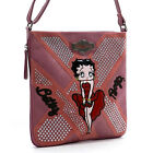 Betty Boop embroidered pink cross-body messenger bag red gown studs rhinestones $26.9 USD
