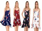 Ladies Floral Print Strappy Sleeveless Flared Swing Long Cami Skater  Dress Tops