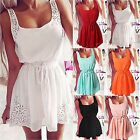 Women's Fashion Casual Sundress Lace Sleeveless Dress Hollow Out Beach Dresses