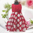 Reds Polkadot Christening Wedding Party Flower Girls Dresses SIZE 2,3,4,5,6,7Y