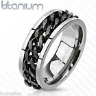 GREAT MENS SOLID TITANIUM SILVER BLACK TWIST CHAIN SPINNER WEDDING BAND RING