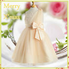 Kids Gold Beige Communion Wedding Party Flower Girls Dresses SIZE 2 4 6 8 10 12T
