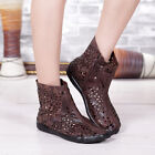 Roma Hollow Out Womens Casual Leather Retro Ankle Boots Side Zipper Sandal Shoes
