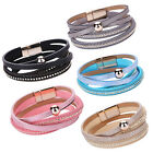 Women Faux Leather Multilayer Magnetic Buckle Cuff Chain Bracelet Bangle Hot