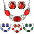 Women Stylish Retro Crystal Round Necklace Pendant Earrings New Jewelry Set