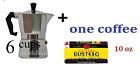 Stove Top Espresso Cuban Coffee Maker pot 6 Cup Cafetera Cubana + one coffee