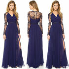 Women Long Chiffon Lace Evening Formal Party Dress Bridesmaid Prom Gown Blue