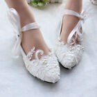 Women Flats Pearls Lace Mary Jane Princess Wedding White Bridal Shoes