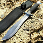 "13"" Tactical Hunting Fixed Blade Survival Bowie Knife Black Sheath"