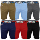 Mens Belted Chino Shorts Stallion Summer Cotton Casual Roll Up Half Pants New
