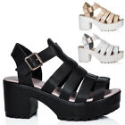 WOMENS HEELED CLEATED SOLE PLATFORM LEATHER STYLE SANDAL SHOES SIZE 3 - 8