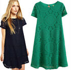 Summer Women's Floral Lace Short Sleeve Cocktail Evening Party Casual Mini Dress