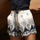 Womens Summer Lace Short Pants Embroidery Bohemian Casual Cotton Shorts Pants