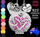 Sister Love Heart Aromatherapy Perfume Oil Diffuser 925 Silver Necklace Gift New