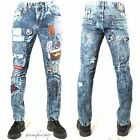 Peviani patches star denim jean, mens patches g straight hip hop rips, ripped