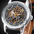 Luxury Men's Transparent Skeleton Mechanical Leather Stainless Steel Wrist Watch