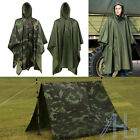 Waterproof Army Hooded Ripstop Festival Rain Poncho Military Camping Hiking Coat