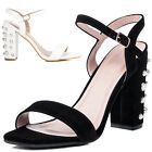 Womens Embellished Pearl High Heel Strappy Sandals Shoes Sz 3-8