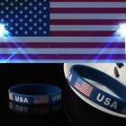 1/3PCS Silica Gel USA Jewelry Silicone Bracelet Wristband American Flag Bangle
