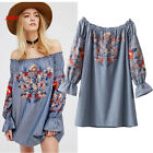 VTG BOHO GSYPY ONE LOVE FLORAL EMBROIDERED TUNIC MINI WEDDING DRESS BLOUSE TOP