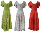 Medieval Renaissance Corset Style Dress w Short Sleeves - Gray, Red, Green 15323