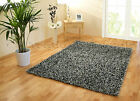 LARGE THICK GLOSSY SHINY SHIMMER SPARKLE STYLE BLACK SILVER MIX FUNKY SHAGGY RUG