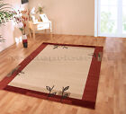 SMALL - EXTRA LARGE BURNT RED,TERRACOTTA ORANGE CREAM BEIGE MODERN RUG FREE P&P