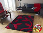 MEDIUM - EXTRA LARGE THICK DEEP CHUNKY PILE BLACK RED SHAGGY SOFT CARVED RUG