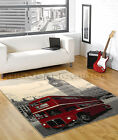 LARGE - EXTRA LARGE RED LONDON BUS, BIG BEN, CREAM BEIGE GREY MODERN RUG. SALE